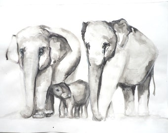 9x12 Giclee Elephant Family print from Original Ink Painting by Allison Lee Boston MA Baby Elephant Painting New Baby Gift Idea, Art Print