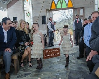 Here Comes the Love of Your Life Sign Rustic Here Comes the Bride Sign Here Comes the Bride Sign Wedding Sign