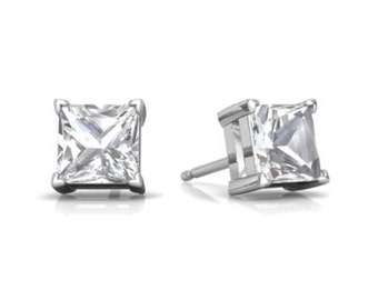 White Sapphire Princess Cut Stud Earrings .925 Sterling Silver