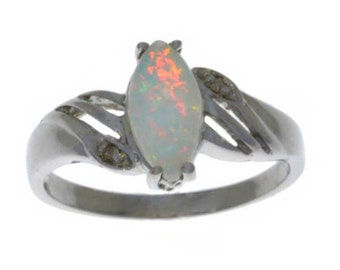 Opal & Diamond Marquise Ring .925 Sterling Silver Rhodium Finish