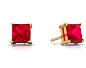14Kt Yellow Gold Ruby Princess Cut Stud Earrings