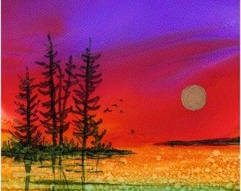 Trivet- Art Tile- Dye Sublimation Imprint of Alcohol Ink painting on  6x6 Ceramic Tile - Moon rise