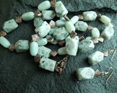 SALE  Scrumptious minty Kiwi Quartz and Amazonite necklace and earrings