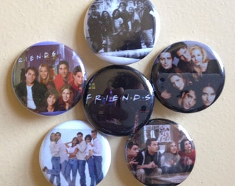 "Friends pin back buttons 1.25"" set of 6"