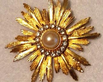Signed Lia Starburst Sunburst Brooch