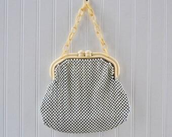 Vintage Alumesh Purse Whiting Davis Bag - White Metal Mesh Handbag Celluloid