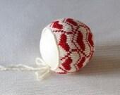 Christmas Hat Newborn Christmas bonnet Alpaca Newborn  Knit Bonnet  Newborn photo prop