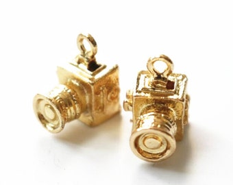 2 pcs metal camera charm-15x10x10mm-1265-18k gold-F