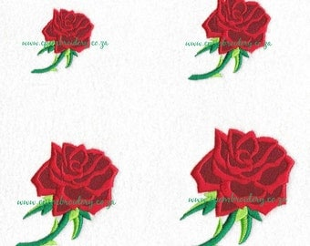Single Rose with Stem Design 4 Sizes Set