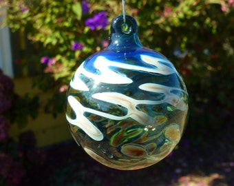 Fumed Handblown Lake green Glass Ornament with Freeform Squiggles