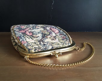 Small Vintage Tapestry Purse Petit Point JR