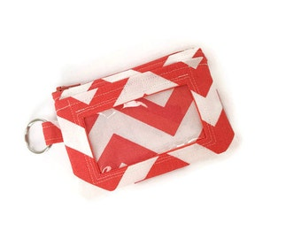 Coral and White Chevron ID Wallet / Keychain ID Wallet / ID Holder