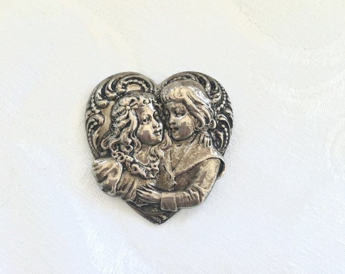 Victorian Lovers Brooch, Vintage Heart Pin Embracing Lovers Wedding Jewelry