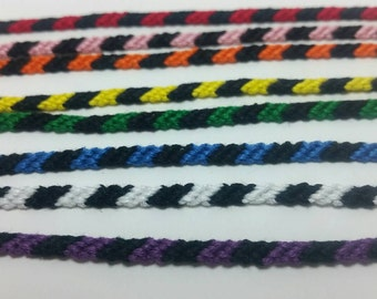 Black striped string friendship bracelets, striped friendship, friendship gift, stackable bracelet set, bracelet under 25