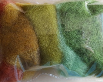 25gs of Greens and Browns Needle Felting Batting Wool