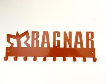 Official Ragnar Running Medal Holder by SportHooks, medal hanger, medal rack, medal display, 10 hook Orange Finish. www.sporthooks.com