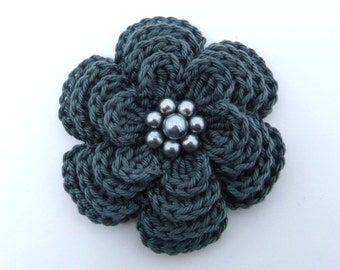 Large charcoal grey  crochet 4 layer  flower brooch (3 ins diameter)