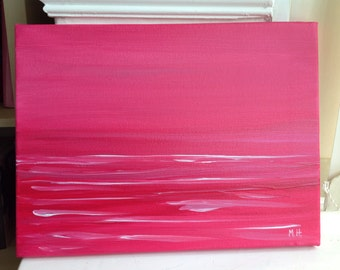 30% off sale Acrylic painting, abstract painting, pink abstract art, 16 x 12 inches on canvas