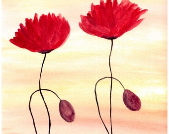 Poppies watercolor, poppy painting, one of a kind, 9 x 12 inches red flowers