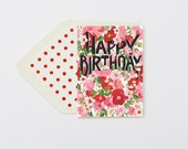 Happy Birthday Red | Pink Blooms Card