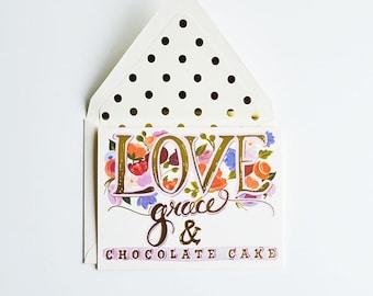 Love Grace & Chocolate Cake Card