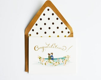 Congratulations Card with Row Boat and Couple