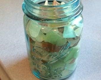 Sea Glass filled Vintage Blue Ball Jar