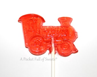 Barley Sugar Pops, 10 Train Christmas Party Favors, Hard Candy Lollipops, Stocking Stuffers, Holiday Candy, Barley Pops, Christmas Gifts