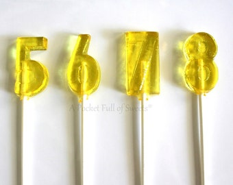5th Birthday Party Favors, Number Party Favors, Number 5 Lollipops, Table Numbers, Number FIVE, Turning 5, Set of 12 Barley Sugar Lollipops