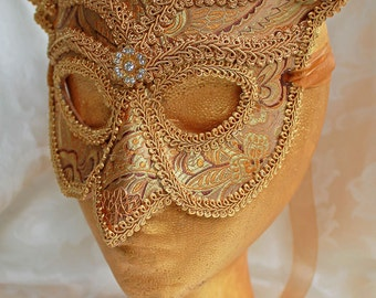 Gold Brocade Owl Mask, MADE TO ORDER Gold Brocade Over Leather Owl Masquerade Mask Owl Masquerade Ball Mask