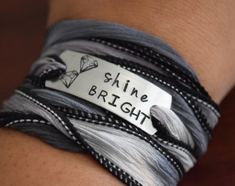 Shine Bright ~ Hand Stamped Ribbon Wrap Bracelet