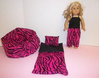 Fits American Girl Doll Pink And Black Zebra Sleeping Bag Pajamas And Bean Bag 252
