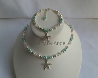 Starfish Bridal Necklace Bracelet Set Rhinestone Starfish Jewelry Starfish Pearl Necklace Bridal Jewelry Starfish Bracelet