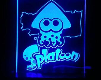 Splatoon squid logo Acrylic LED light sign, led display sign, led lite sign, led night light, LED sign, LED lamp
