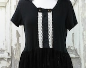 Women's Black Knit Skull Lace Peplum Goth Top Upcycled Clothing Plus Size Halloween