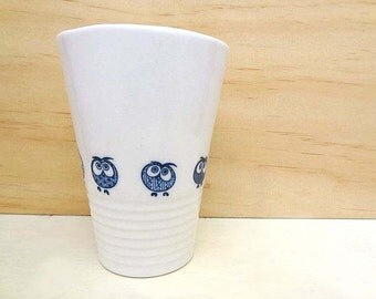 Ceramic coffee cup. Handmade porcelain tumbler for tea or coffee. Cup with owls. Coffee drinker.