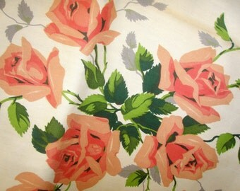Vintage 50s WILENDUR ROYAL RoSE PEACH Tablecloth Mint w Paper Label Unused NoS New Old Stock Midcentury Romantic GaRDEN WeDDING Rare Lg Sz