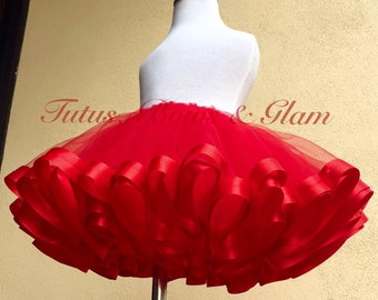 Valentines Ribbon Trimmed Tutu (Sizes NB to 24 months)