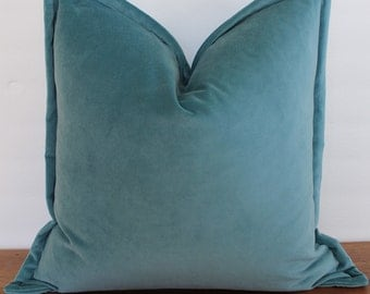 NEW- Decorator Pillow Cover -Blue- Teal- Velvet - Flange