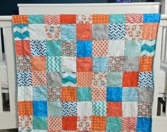 Orange & Teal, Foxes / Woodland Patchwork Baby Blanket, Gender Neutral, Crib Quilt, Toddler Snuggle Quilt