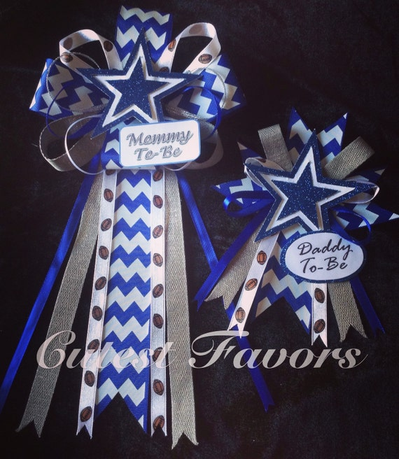 Dallas Cowboys Inspired Baby Shower Mum Corsage By