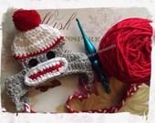 Sock Monkey Dog Hat - Crochet (Red)