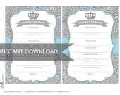 Wishes for Baby Card Crown and Silver Glitter- Light Blue - PDF file - Ready to print - DIY Print Your Own
