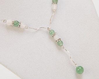 Green Aventurine and CZ Link Y Necklace