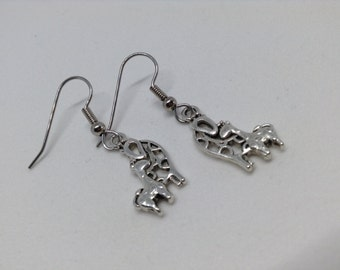 Mama giraffe, baby giraffe earrings, silver tone