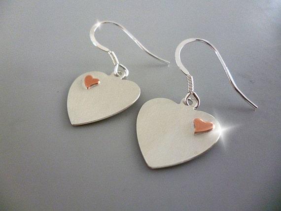 Silver Heart Earrings, Silver Heart Drop Earrings, Silver and Copper Heart Earrings, Mothers Day Gift, Romantic Gift, Anniversary Gift
