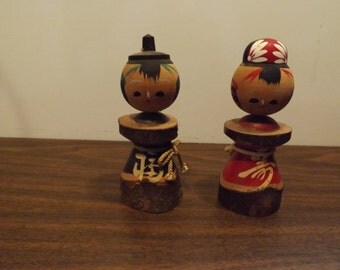 Two Wooden Japanese Kokeshi Dolls