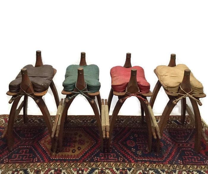 Rare Bar Set Vintage Barstools Camel Saddle Stools Counter
