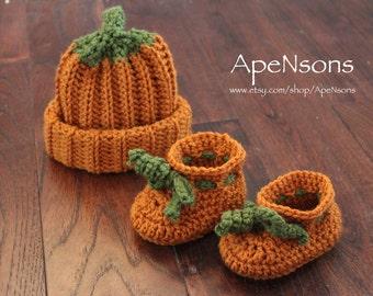 Baby Burnt Orange Autumn Pumpkin Hat & Matching Booties