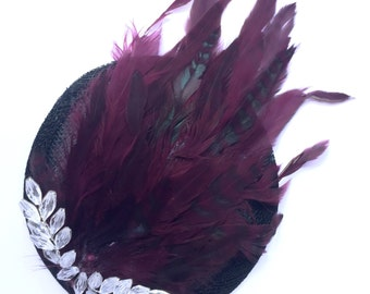 Maroon chinchilla feather decorated fascinator with crystal embellishment